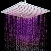 12inch Brass Large Sqare LED Rainfall Shower Head Luminous Shower head Temperature Sensor Romantic Rain Shower