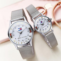 Top Marca de Luxo Casal Relógios Das Mulheres Dos Amantes de Aço Inoxidável relógio de Pulso de Quartzo Relógio Casal Presente Montre Homme