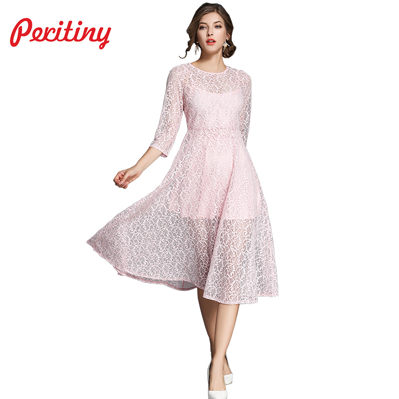 41a9a377c62 Peritiny Lace Dress Fake Two Pieces Stitching Pink Green Black Dress Women  Tunic Casual Christmas New Year Dresses For Women-in Dresses from Women s  ...