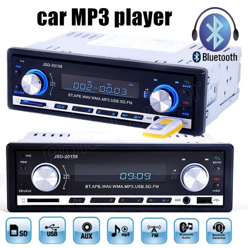 1Din 12V Car Stereo Audio In Dash FM Aux Input SD USB MP3