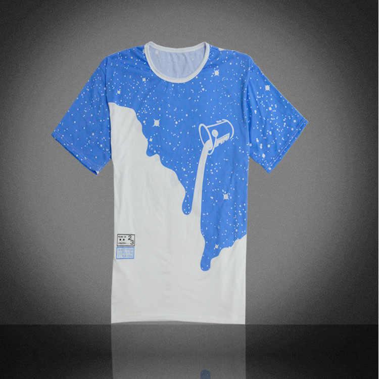 2019 Новая Мужская модная летняя футболка с перевернутым молоком и 3D принтом, с коротким рукавом, круглым вырезом, тонкая Повседневная футболка