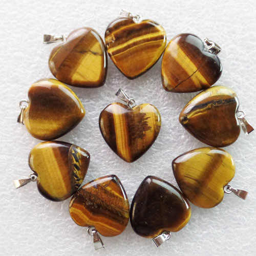 Free Shipping 10Pcs 22x20x6mm Beautiful Tiger Eye Gem Heart Pendant Bead (Min.order 10$ mix)