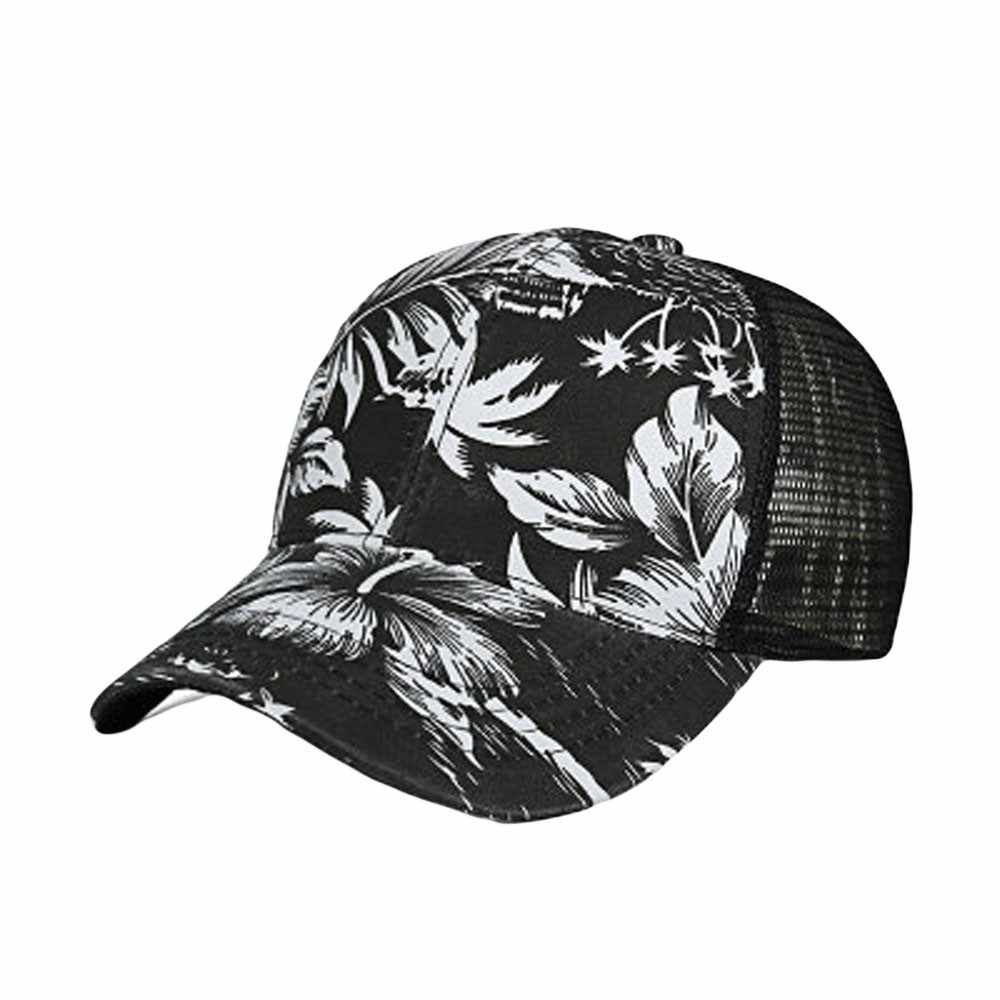 Flower print Baseball Hat Fashion Women Men Adjustable Colorful Mesh Cap Shade Unisex Casual Color flower net cap baseball cap