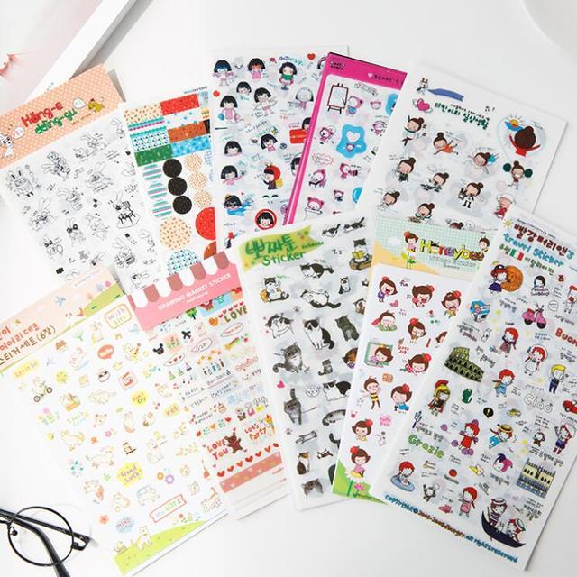 6pcs/pack/lot Cartoon life Students' DIY Diary Stickers set Decoration mini stickers label  kawaii bookmark