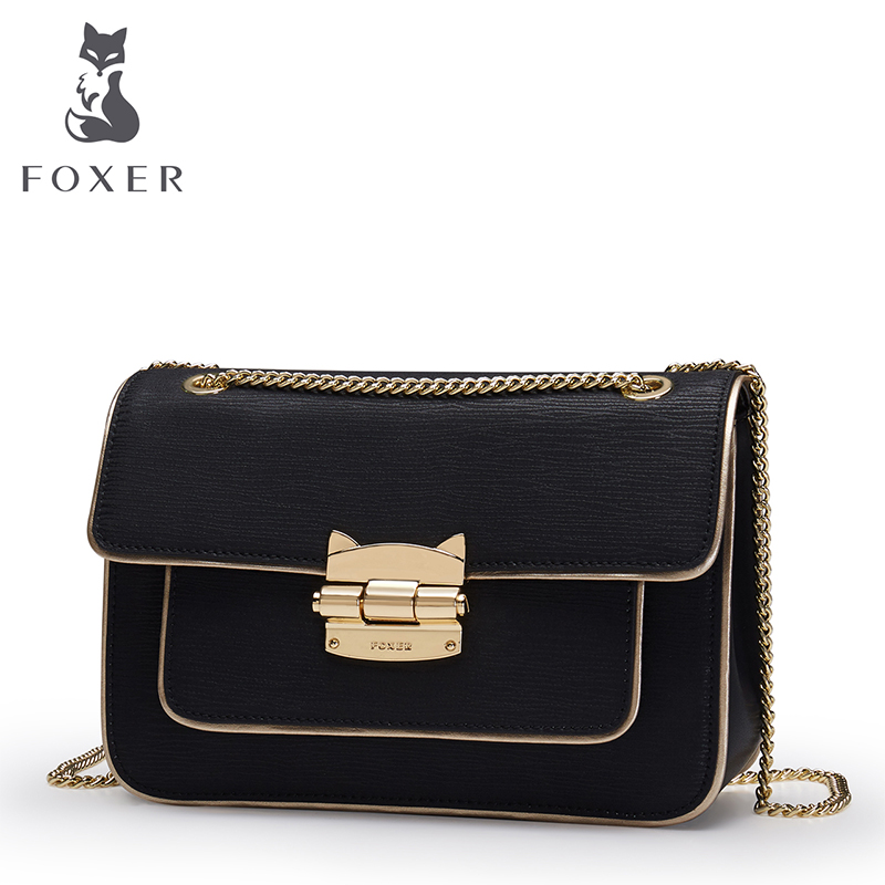 FOXER Brand New Fashion Chain Strap Crossbody Bag Women Cowhide Leather Shoulder bag Ladies Bag Female Messenger bag fashion new design pu leather lotus wave female chain purse shoulder bag handbag ladies crossbody messenger bag women s flap