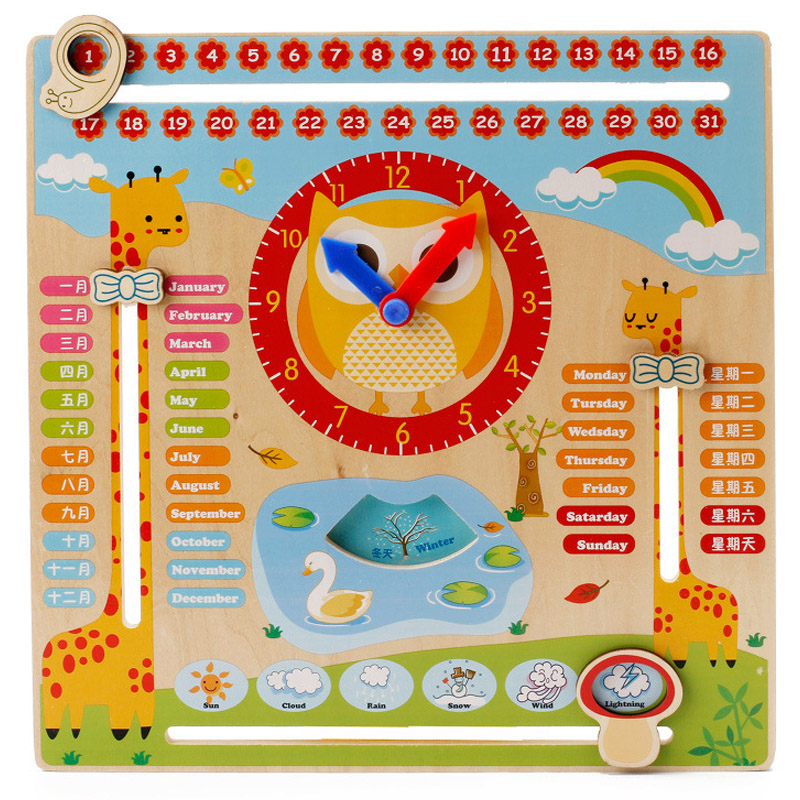 Wooden Clock Early Learning Puzzles Building Toys for Children montessori educational Wooden Clock Building Puzzle Toys for Kids 1000 pieces the wooden puzzles adventure together jigsaw puzzle white card adult children s educational toys