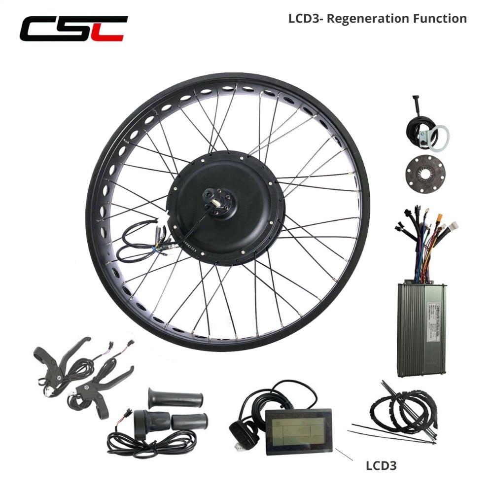 Powerful Electric Snow Bike Kit Brushless Hub Motor Rear Snow Wheel 26inch 4 0 Tyre 48v