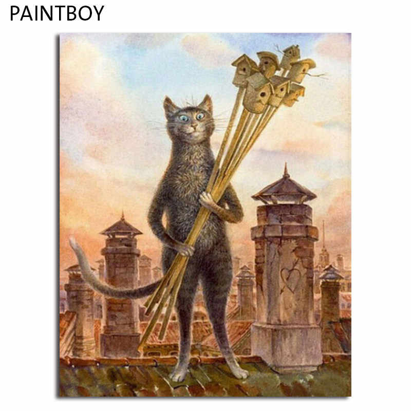 PAINTBOY Cat Framed Painting By Numbers Of Animal DIY Oil Painting On Canvas Home Decor For Living Room g 40*50m Wall Art GX4520