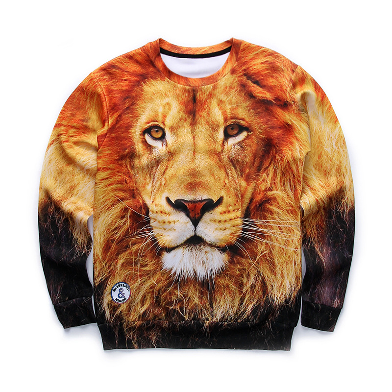 New style 2018 Printed animal tiger lion 0-neck Starry sky gorgeous 3d digital printing hoodies vivid high quality