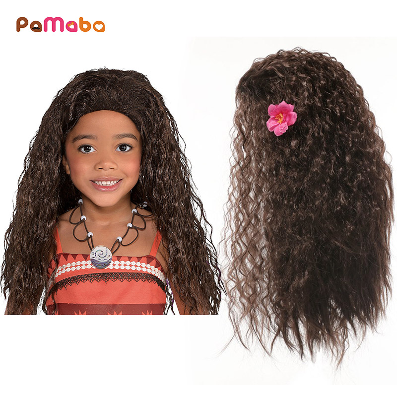 PaMaBa Girls Moana Cosplay Costume Wig Accessories Children Princess Rapunzel Belle Auraroa Kid Birthday Party Supplies Dress Up