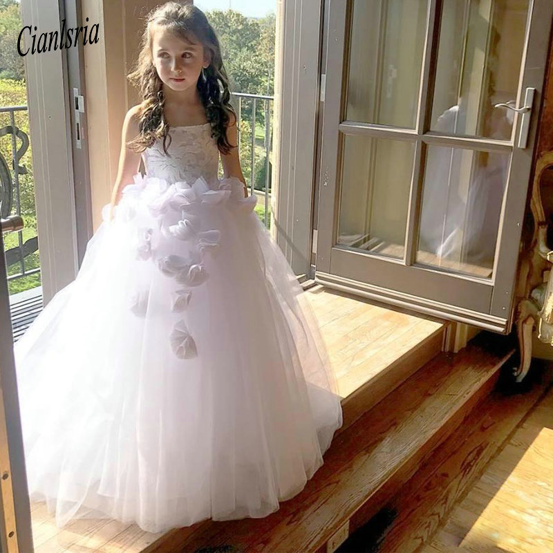 Vintage White Spaghetti Straps Ball Gown   Flower     Girls     Dresses   Layer Tulle Skirt Toddler Communion   Dress   Puffy Kid Prom Gowns