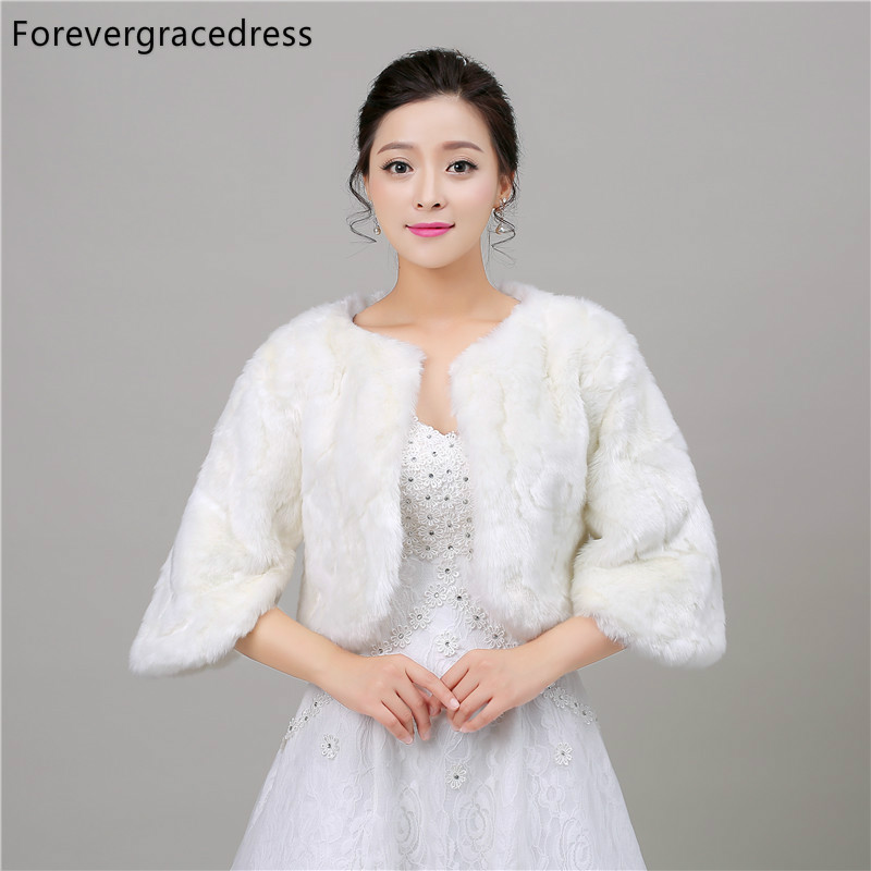 Forevergracedress White New Autumn Winter Faux Fur Wedding Wrap Bolero Jackets Bridal Coat Cape Cloak Shawls Scarves In Stock