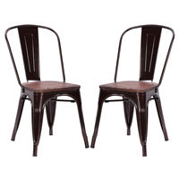 Giantex Set Of 2pcs Dining Side Chair Stackable Bistro Metal Wood Stool Modern Dining Room Furniture