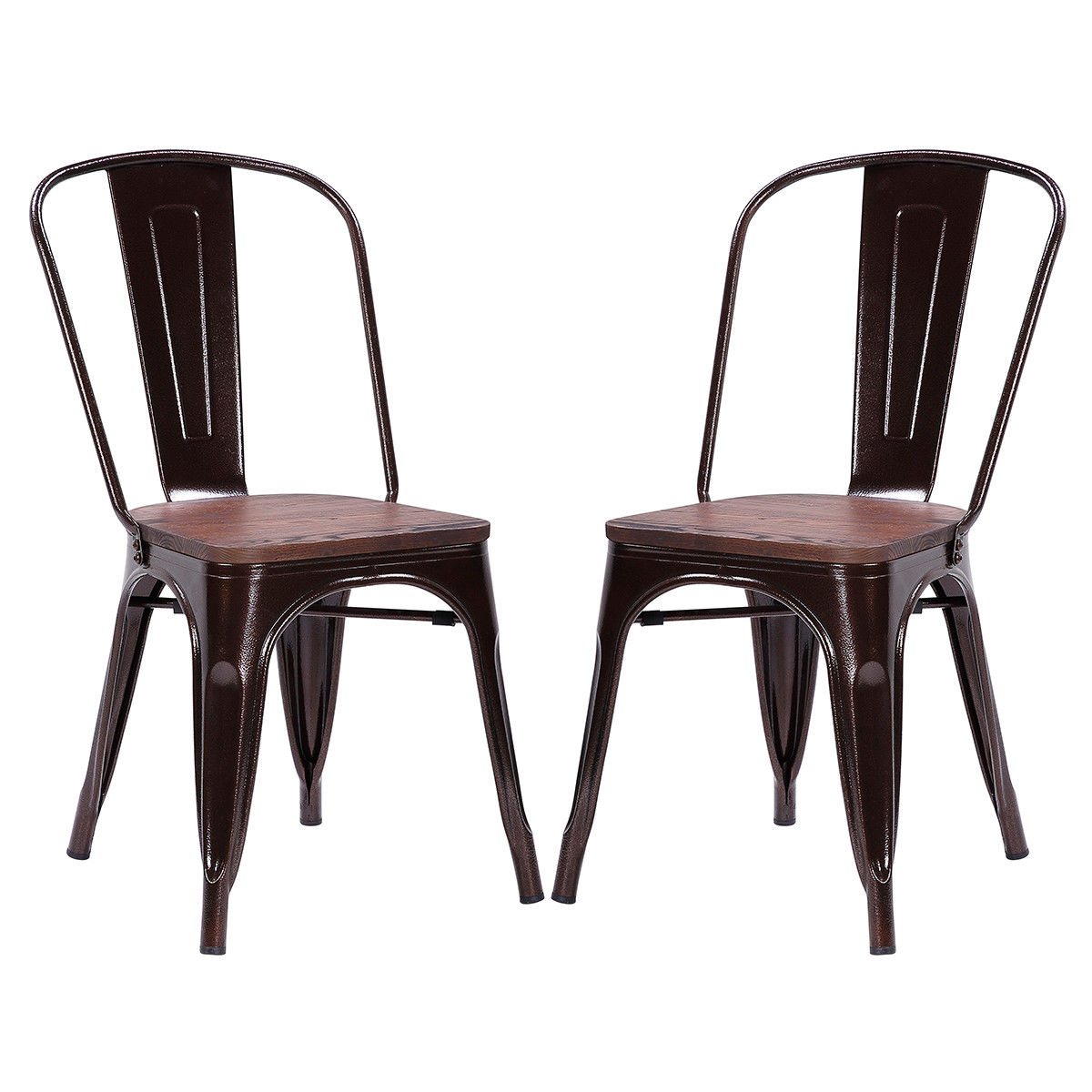 Giantex Set of 2pcs Dining Side Chair Stackable Bistro Metal Wood Stool Modern Dining Room Furniture HW56682CP helix dining chair anti black gold set of 2