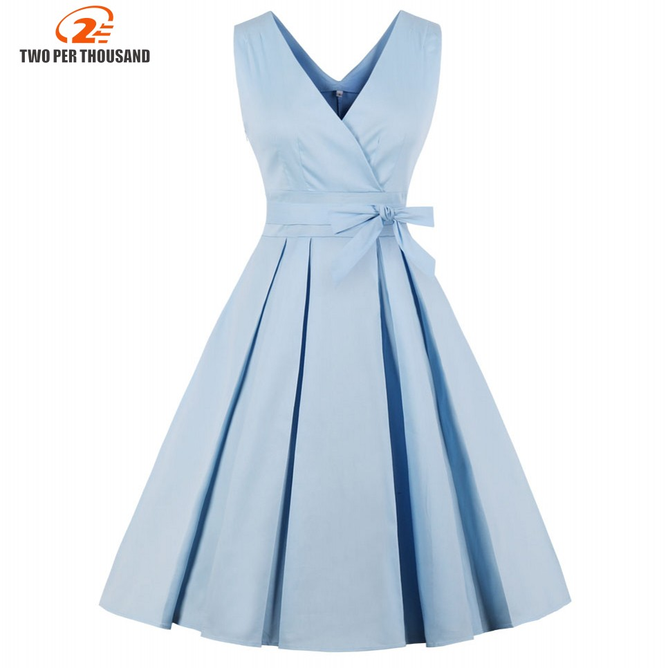 Light Blue Red Pleated Plain Vintage Dress Women 2018 Sexy V Neck Party Dress Elegant Retro Summer Cotton Dresses