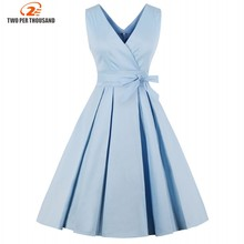 Light Blue Red Pleated Plain Vintage Dress Women 2018 Sexy V Neck Party Dress Elegant Retro Summer Cotton Dresses