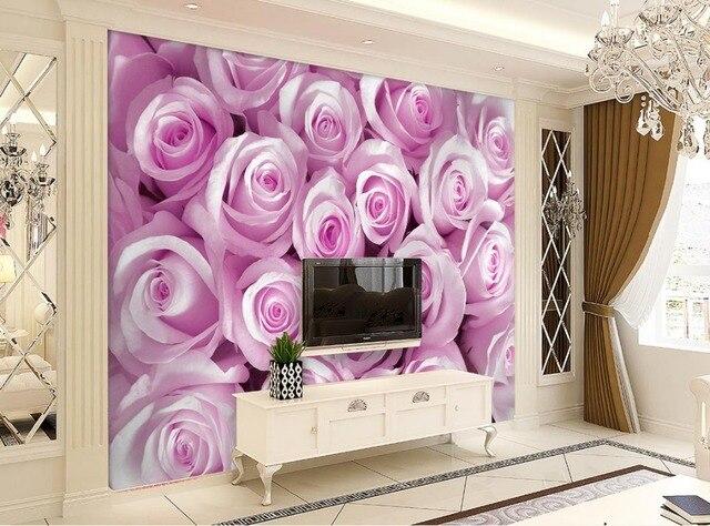 3d stéréoscopique papier peint Fantaisie rose fleurs papier peint ...