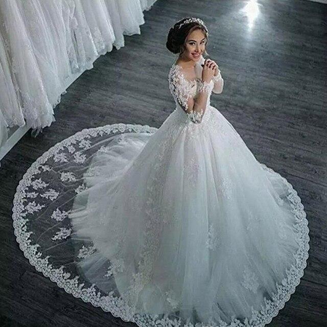 Vestidos De Noiva 2021 Elegant A Line Long Sleeve Wedding Dress Tulle Appliques Beaded Princess Lace Wedding Gown Robe De Mariee 2