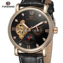 НОВЫЕ ПРИХОДЯТ! FORSINING FSG800M3R4 Мужчины Автоматические часы Мода & Casual розовое золото цвет корпуса черный циферблат черный кожаный ремешок