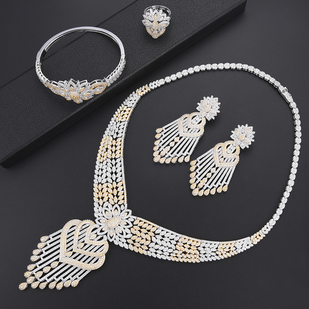 missvikki Italian Russia Crystal Jewelry Sets Necklace African Women Party Jewelry Gold Bridal Wedding Engagement Jewelry