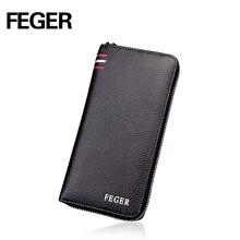 FEGER black genuine leather clutch bag men fashion multifunction long business zipper clutch wallet