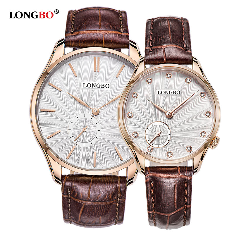 2018 Fashion Longbo Brand Quartz Watch Lovers Watches Women Men Couple Dress Genuine Leather Wristwatches Luxury Casualgold Gift