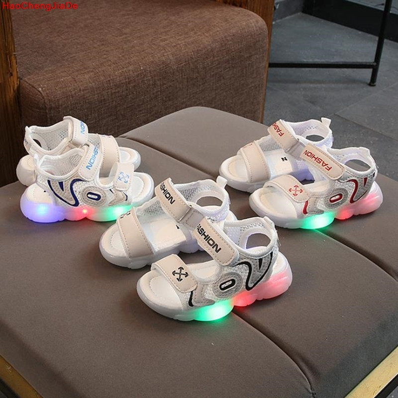 Kids Sandals Boy Fashion LED Childrens Summer Shoes Light Up Kids Child Beach Shoes Blue Gray Sandals for Baby BoysKids Sandals Boy Fashion LED Childrens Summer Shoes Light Up Kids Child Beach Shoes Blue Gray Sandals for Baby Boys