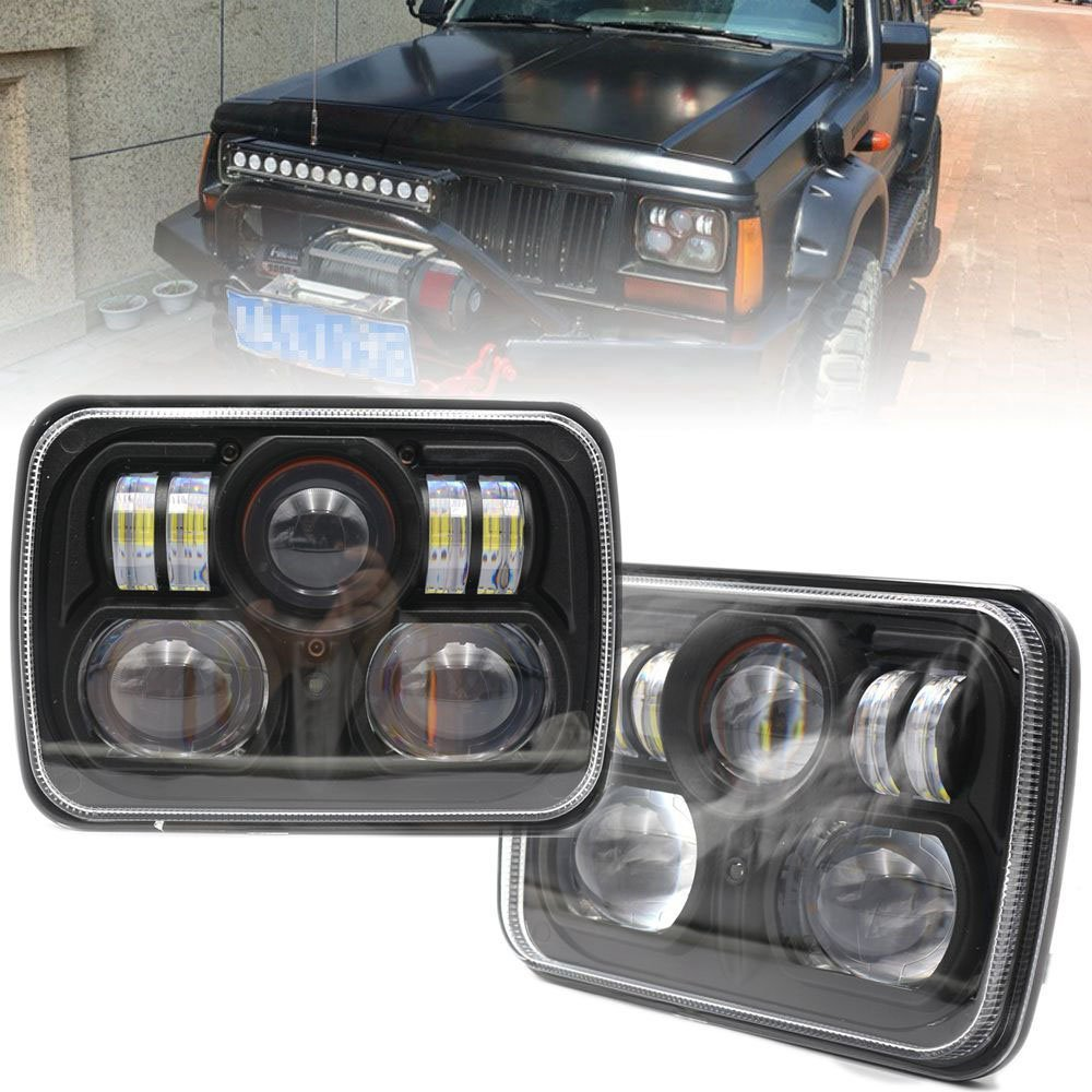 2 pcs 5 x 7 Sealed Beam Replacement LED Headlight for Jeep Cherokee XJ Wrangler YJ H6054 H6014 marlaa 7x 6 5 x 7 inch black projector led headlights for jeep wrangler yj cherokee xj h6054 h5054 h6054ll 69822 6052 6053