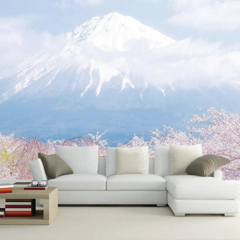 Us 14 65 51 Off Custom Photo Wallpaper Mount Fuji And Cherry Blossoms 3d Wallpaper Murals For Children S Room Living Room Bedroom Pvc Wallpaper In