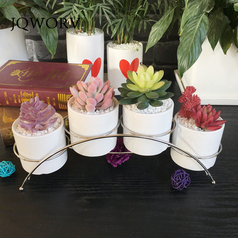 JQWORV 4pcsSet Nordic creative ceramics flower pot succulent planter plant pot small vase balcony desktop decorative ornaments