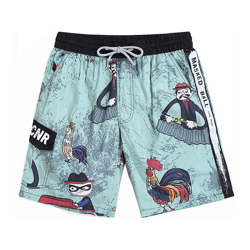 Rooster Print Quick Dry Beach   Shorts   Men Swimwear Trunks Bermuda   Board     Shorts   Men's Jogger   Shorts   Outdoor Sweat Workout   Shorts