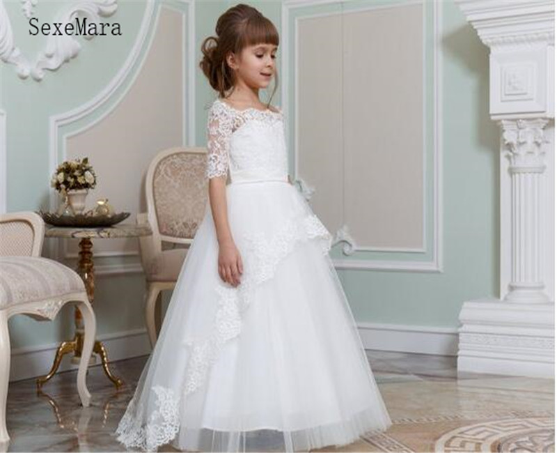 Wihte Flower Girl Dress With Buttons Back Top Lace Half Sleeves Girls Birthday Gowns Pageant Gowns For 2 14 Y Teenagers Vestidlx in Dresses from Mother Kids