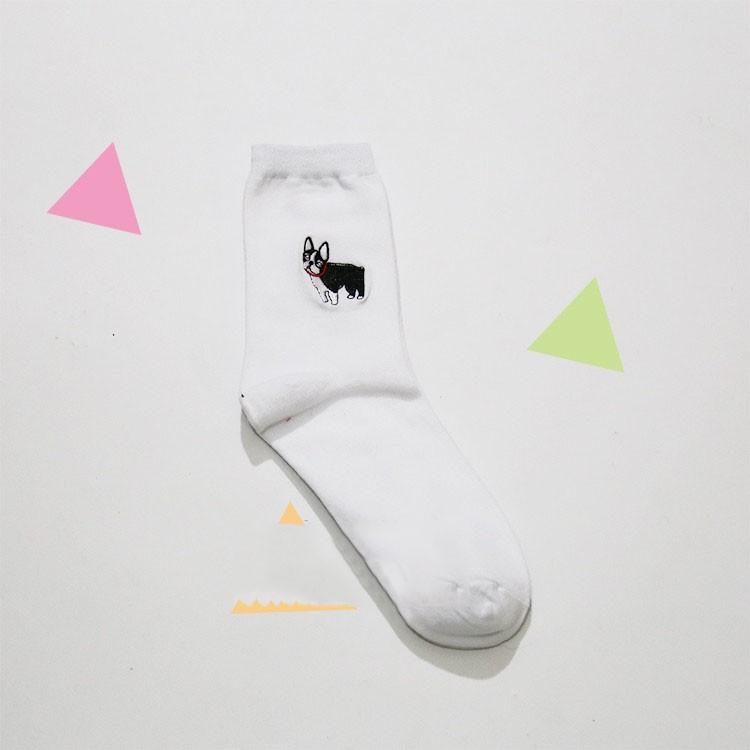 cute animal husky embroidery women cotton white socks lovely dog Jacquard female pure color socks funny kawaii pug meias soks 11
