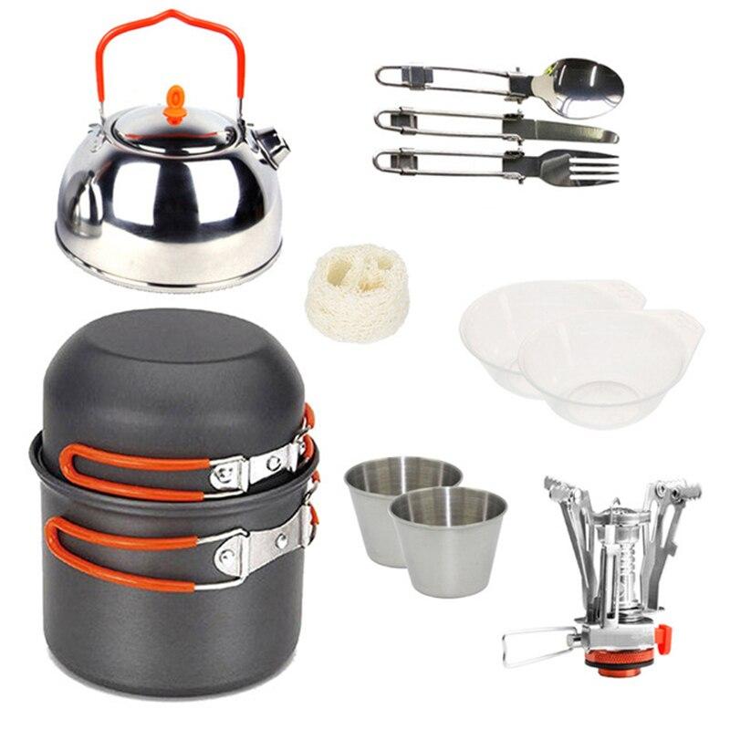 Extérieur Camping ustensiles de cuisine Set de cuisine vaisselle en acier inoxydable tasse Pot théière couteau pliant fourchette cuillère poêles pique-nique survie