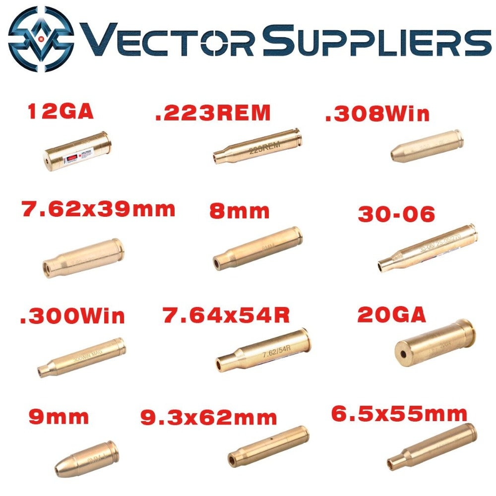 12GA 9mm .308 .223 6.5x55 Cartridge Laser Bore Sighter Collimator Boresighter Sight fit Airsoft / Real AK AR 15 , Pistol Shotgun