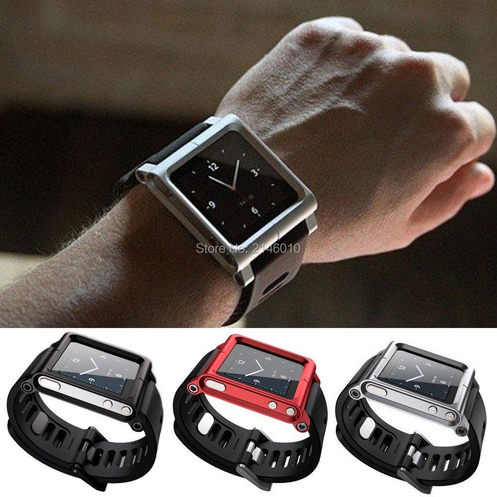 lunatický řemínek pro ipod nano 6g - Multi-Touch Watch Band Kit Wrist Strap Bracelet For iPod Nano 6 6th 6g Aluminum Metal Case