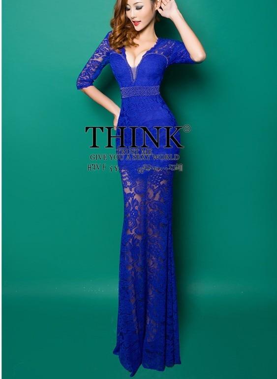 Реалистичная картина кружево с v-образным вырезом Вечерние платья строгое длинное вечернее платье vestido de festa rendo robe de soiree abiti da sera 559 - Цвет: Cobalt