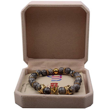 Gold-colour Imperial Crown Bead Bracelet King&Queen Luxury Charm Jewelry Xmas Gift for Women Men