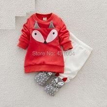 Nouveau-né mignon renard vêtements garçons filles de bande dessinée à manches longues ensemble hiver coton enfant fille vêtements 2 PC bébé velours ensembles