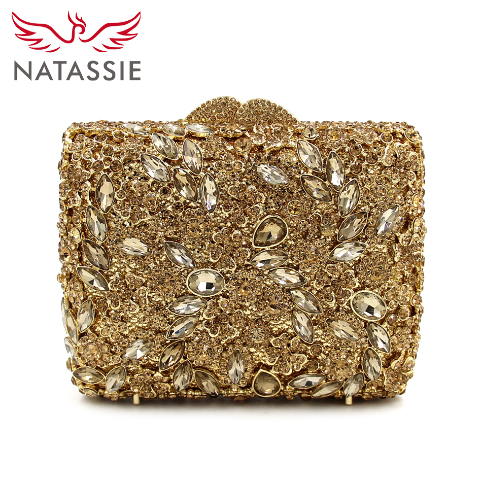 ФОТО NATASSIE 2017 New Arrival Evening Bag Gold Wedding Clutches Luxury Handbags Women Day Clutch With Chain Party Purse