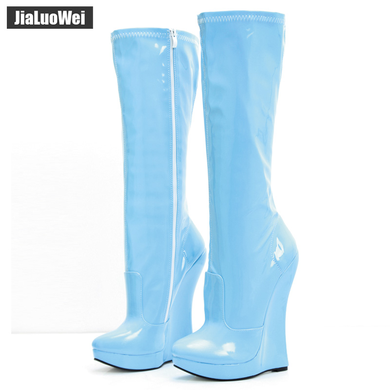 jialuowei 18cm Extreme High Heel Wedge heel 3cm Platform Pointed Toe Women PU Leather Side Zipper Sexy Fetish Knee-High Boots jialuowei brand new 18cm extreme high heel sexy fetish over knee thigh long boots woman pointed toe fashionable boots for women
