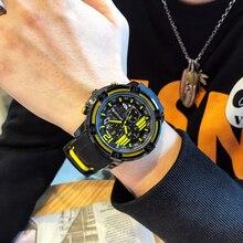 MEGIR montre de sport pour hommes, à grand cadran, chronographe, style militaire, horloge à Quartz