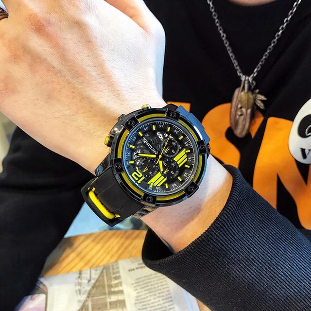 Newest MEGIR Creative Big Dial Chronograph Mens Sports Watches Military Quartz Watch Men Clock Relogio Masculino Reloj Hombre