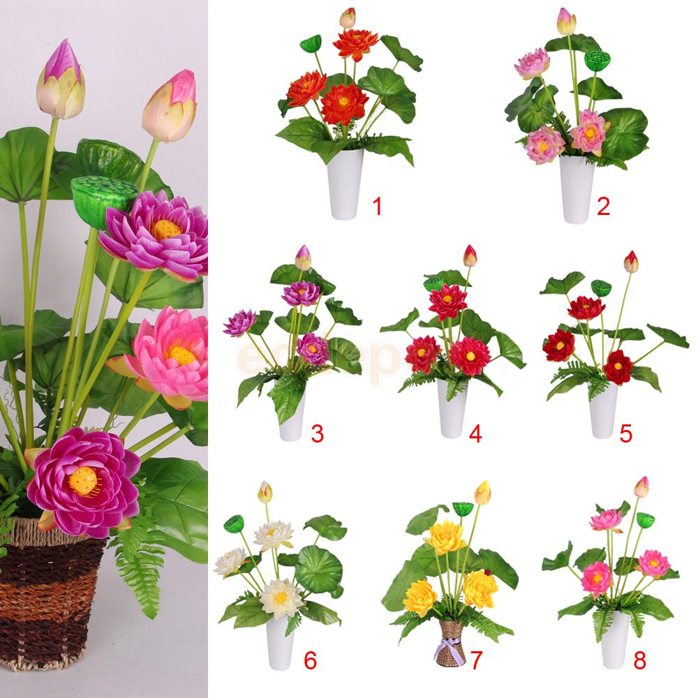 Silk lotus promotion shop for promotional silk lotus on aliexpress artificial fake flower silk lotus rising flower bouquet for home garden wedding party decoration dhlflorist Images