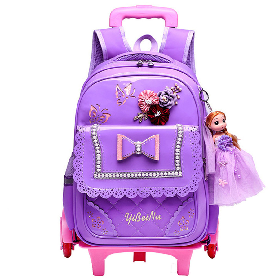 Children School Bags Kids girls Detachable Trolley Schoolbag Rolling Luggage Book Bag Wheeled Backpack with 2