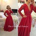 Sexy V Cuello de Encaje Rojo Largo Vestido de Noche 2017 Robe Robe de Soirée Manga Larga Perlas Brasileño Vestido Abendkleider Partido Prom vestidos