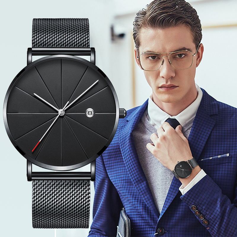 Stainless Steel Quartz Wristwatches Fashion Gold Men Watches Ultra-thin Watches Classic Quartz Date Casual Mesh Belt Wristwatch HTB1IsQiaMFY.1VjSZFqq6ydbXXaH