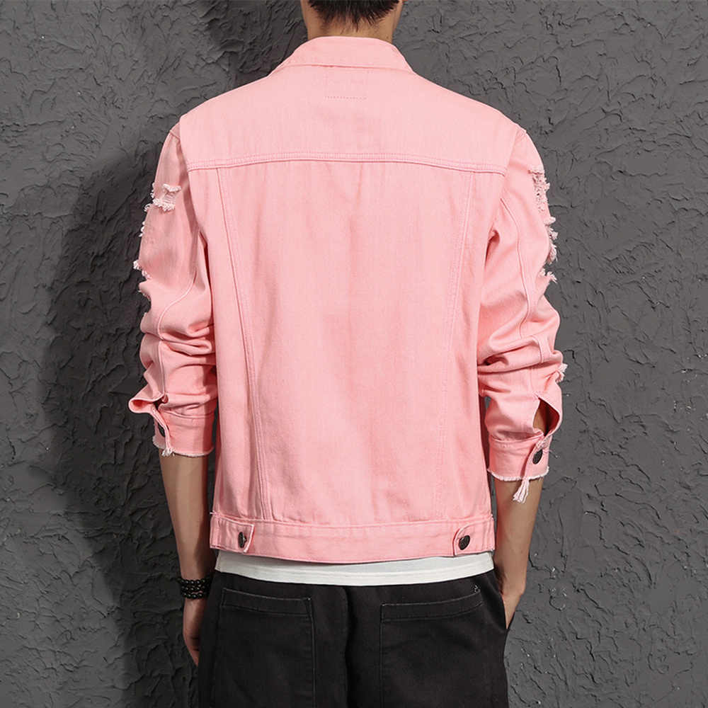 Detail Feedback Questions About Denim Jacket Men Ripped Holes Pink