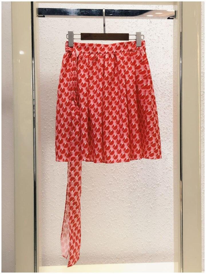 Automne Col Jupe 2017 Femmes Chemise Rouge Pic Peter Bowtie Bulle Impression Nouvelle As Pan Blanche Vêtements Arrivée Longueur Genou w0HqfanEF