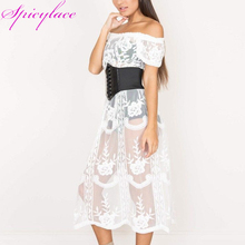 цена на Women White Sexy Hollow Embroidered Mesh Ripped Dresses Beach Slash Neck Off the Shoulder Dress (without belt & lining)